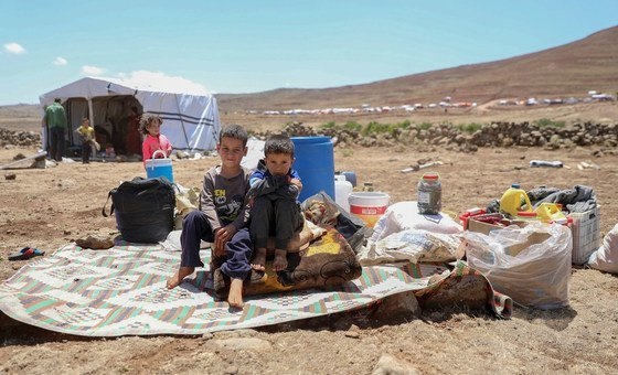 The escalating hostilities in southwest Syria endanger some 750,000 people - almost half of them children, like these boys pictured here, who have fled violence in Deraa.