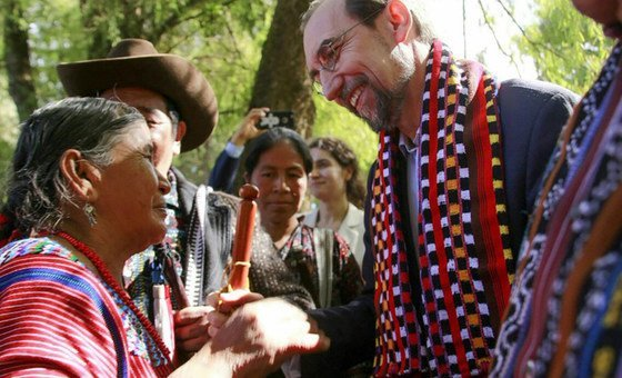 Zeid Ra'ad Al Hussein, UN High Commissioner for Human Rights meeting with indigenous community leaders in Guatemala. November 2017.