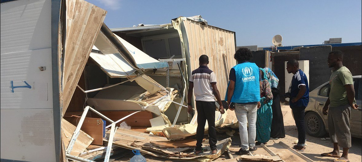 A house in Triq al Matar settlement in Libya demolished by a local militia to force Tawergha community to leave the area.  10 August 2018.