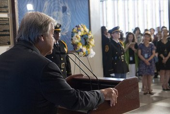 Secretary-General António Guterres speaking at the Wreath-laying Ceremony for the Observance of the 15th Anniversary of the Bombing of the United Nations Headquarters in Baghdad, on 17 August 2018, at UN Headquarters in New York.