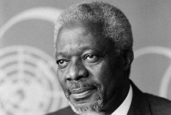 Picha ya Kofi Annan alipoteuliwa kwa muhula wa pili kama Katibu Mkuu wa UN 1 Januari 2002 na kumaliza  31 Disemba 2006.