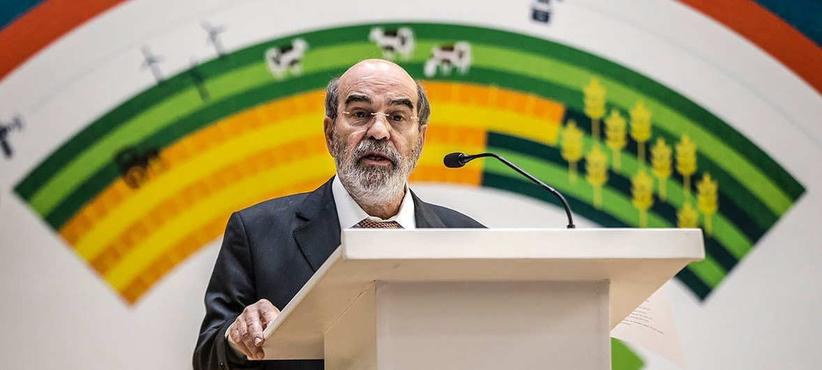 FAO Director-General Jose Graziano da Silva addressing the opening session of the regional conference on Youth Employment in Agriculture, co-organised by the Republic of Rwanda and the African Union on the 20 August, 2018 in Kigali, Rwanda.