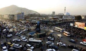 Un rond-point à Kaboul, la capitale de l'Afghanistan.