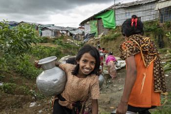 Una joven rohinyá en Cox's Bazar, Bangladesh, en julio de 2018