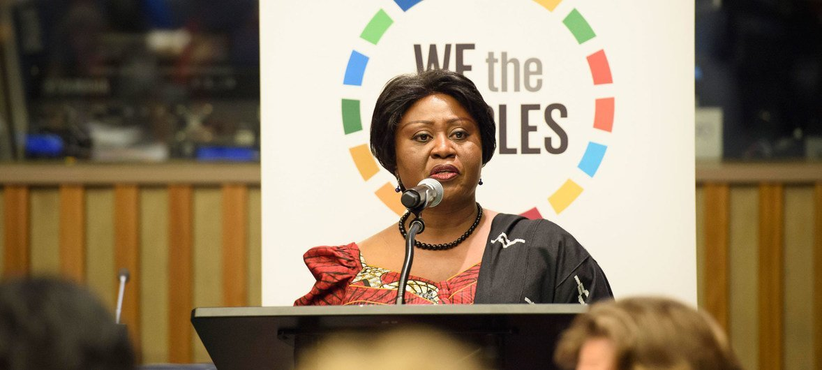"""Martha Pobee, Vice-President, Office of the President of the General Assembly,  addresses the 67th United Nations DPI/NGO Conference, held under the theme """"We the Peoples…Together Finding Global Solutions for Global Problems"""". ."""