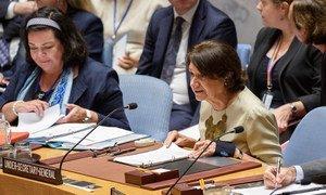 Rosemary DiCarlo, secretaria general adjunta de Asuntos Políticos, informa al Consejo de Seguridad.