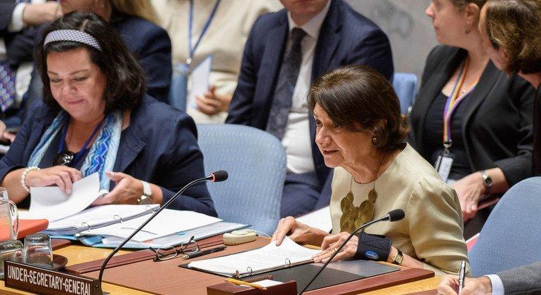 أرشيف: روزماري ديكارلو وكيلة الأمين العام للشؤون السياسية تتحدث أمام مجلس الأمن الدولي. 22 أغسطس/آب 2018.