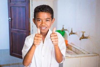 Au Timor-Leste, les écoliers sont encouragés à se laver les mains.