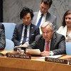 秘书长古特雷斯在安理会关于缅甸局势的会议上发言。这次会议是为了纪念2017年罗兴亚危机暴发一周年。