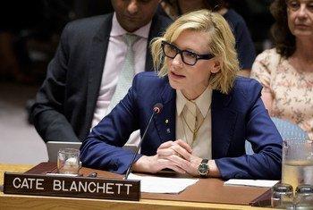 Cate Blanchett fala ao Conselho de Segurança.