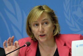 Mary Wareham, Advocacy Director of the Arms Division of Human Rights Watch and ban policy editor of the Cluster Munition Monitor 2018 report, speaks at a press conference to launch the report, United Nations Office at Geneva, 30 August 2018.