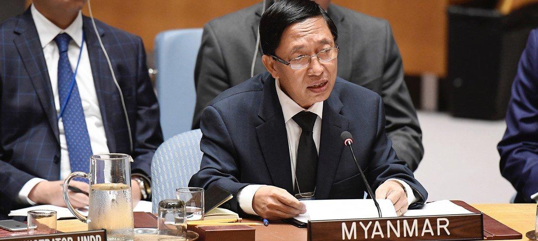 缅甸常驻联合国代表吴浩督松2018年8月28日在安理会关于缅甸局势的会议上发言。此次会议的召开正值2017年罗兴亚危机爆发一周年。