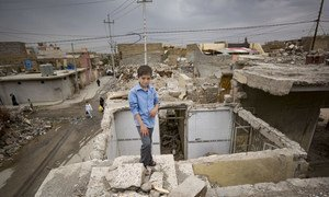 Young Ali, who was trapped for five hours under his house in rubble when it collapsed during a conflict with the terrorist group ISIL, also known as Da'esh, has recently returned with his family to West Mosul.