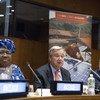 联合国秘书长古特雷斯在2018年9月5日举行的全球经济与气候委员会2018年报告发布仪式上发表讲话。