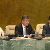 General Assembly President Miroslav Lajčák chairs the High-level Forum on the Culture of Peace on 05 September 2018. At left is Maria Luiza Ribeiro Viotti, Chef de Cabinet to the UN Secretary-General, and at right is Movses Abelian, Assistant Secretary-Ge