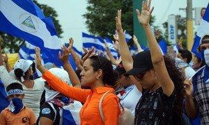 Protesta estudiantil en Managua, Nicaragua, en 2018