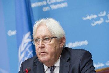 Martin Griffiths, Envoyé spécial des Nations Unies pour le Yémen, informe la presse sur les consultations de paix de Genève, au Palais des Nations. (archive - 5 septembre 2018.)