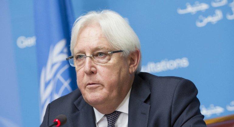 El enviado especial de la ONU para Yemen, Martin Griffiths, informa a la prensa sobre las Consultas en Ginebra sobre el país árabe.  Palais des Nations. 5 de septiembre de 2018.