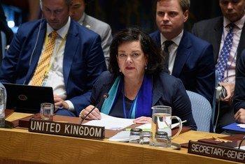 英国常驻联合国代表凯伦·皮尔斯在安理会发言。