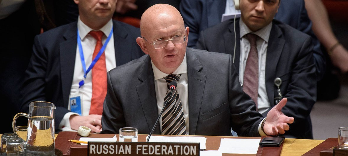 Ambassador Vassily Nebenzia of the Russian Federation addresses the Security Council meeting considering the letter from the Permanent Mission of the United Kingdom to the United Nations.