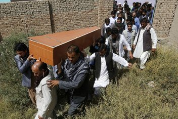 A funeral takes place for a Tolo news agency journalist killed in an attack on 5 September 2018 outside a sports centre in Kabul, Afghanistan.