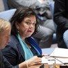 La représentante permanente du Royaume-Uni, Karen Pierce (au centre), devant le Conseil de sécurité.