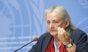Françoise Hampson, une des membres de la Commission d'enquête de l'ONU sur le Burundi, devant la presse à Genève le 5 septembre 2018.