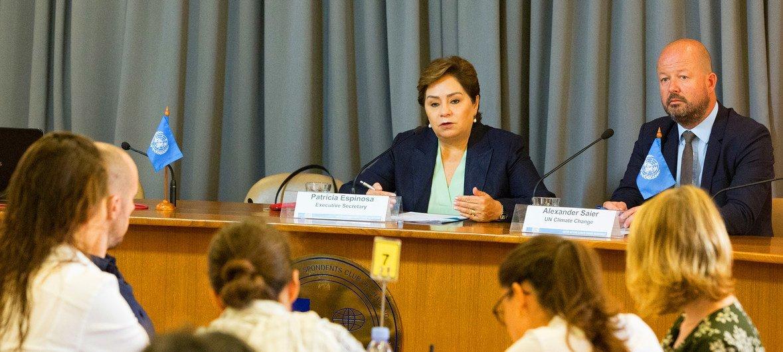 Patricia Espinosa, Secrétaire exécutive de l'ONU sur le changement climatique, lors d'une conférence de presse à Bangkok en septembre 2018.