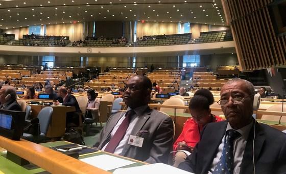 Ministro dos Negócios Estrangeiros e das Comunidades de São Tomé e Príncipe, Urbino Botelho, e parte da delegação do país presente na 73ª sessão da Assembleia Geral da ONU.