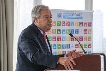 联合国秘书长古特雷斯就气候变化问题发表讲话。