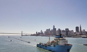 The Ocean Cleanup vessel is aiming to clean up plastic pollution in the Pacific Ocean. It left San Francisco on its first voyage on 8 September 2019.