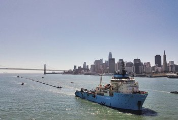 Navio Ocean Cleanup, nesta imagem em São Francisco.