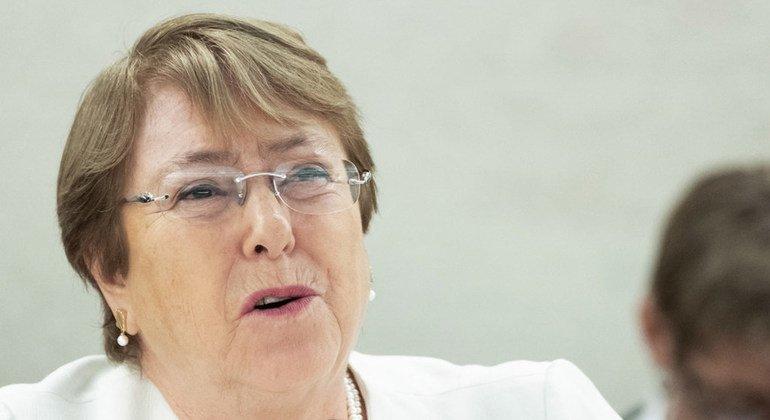 La Alta Comisionada para los Derechos Humanos, Michelle Bachelet, habla ante el Consejo de Derechos Humanos el 10 de septiembre de 2018.