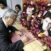 تاداميشي ياماموتو رئيس بعثة الأمم المتحدة للمساعدة في أفغانستان خلال تقديمه التعزية في مقتل اثنين من الصحفيين خلال تفجير انتحاري ثنائي في العاصمة الأفغانية كابول في 5 سبتمبر 2018.