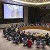 L'Envoyé spécial du Secrétaire général pour le Yémen, Martin Griffiths, intervenant devant le Conseil de sécurité des Nations Unies par visioconférence (archive)