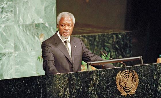 Кофи Аннан на Саммите тысячелетия, где, по его инициативе, были приняты исторические Цели тысячелетия в области развития. Сентябрь 2015 г.