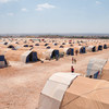 A camp in northern rural Aleppo for displaced people that fled the violence in Afrin, Syria.  26 July 2018.