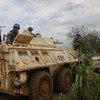 Des casques bleus chinois de la Mission des Nations Unies au Soudan du Sud en patrouille à Juba