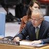 即将卸任的秘书长索马里问题特别代表兼联合国驻索马里援助团团长基廷在联合国安理会有关索马里问题的会议上发言。