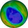 Em setembro de 2018, era este o aspecto do buraco na camada de ozônio.