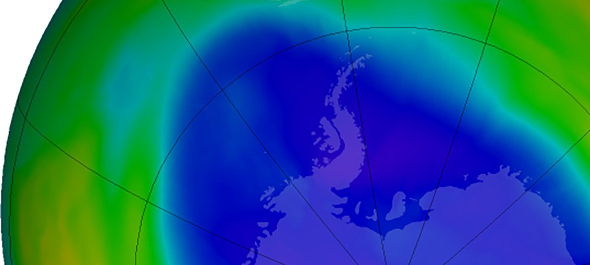 A September 2018 visualization of the ozone layer over the Antarctic pole. The purple and blue colors show areas of most ozone depletion.