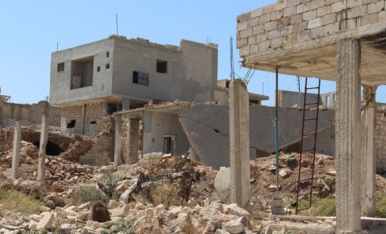 Devastation in a neighborhood in Idlib, Syria. September 2018