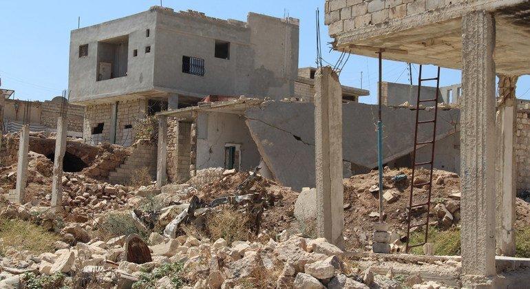 Edificios dañados en Idlib, Siria.