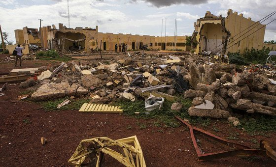 The G5 Sahel HQ destroyed by a terrorist attack on 29 June 2018 in Mopti, Mali.