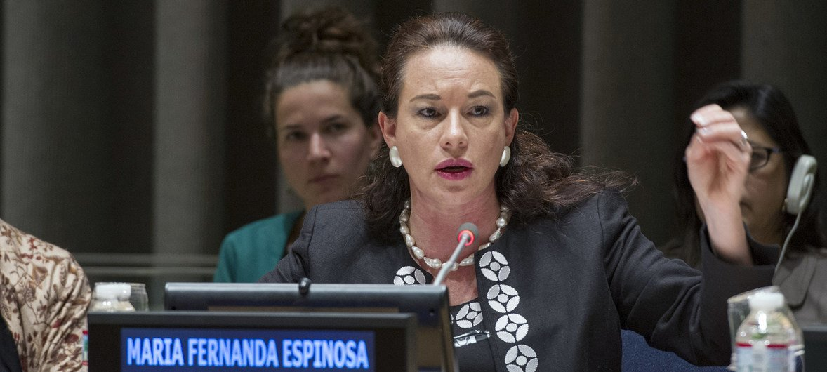 María Fernanda Espinosa Garcés, then Minister of National Defense of Ecuador, speaks at a General Assembly debate on ensuring peaceful and sustainable societies in April, 2014.