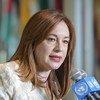 María Fernanda Espinosa Garcés, présidente de la 73e session de l'Assemblée générale des Nations Unies, s'adresse aux médias au siège de l'ONU à New York en juin 2018.