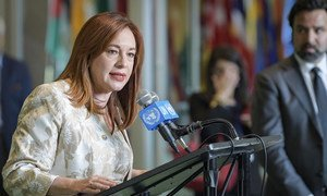 María Fernanda Espinosa Garcés, then President-elect of the 73rd session of the General Assembly addresses the media at UN headquarters in New York. June 2018.