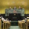 María Fernanda Espinosa faz o juramento como presidente da Assembleia Geral da ONU.