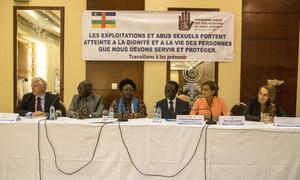 Signature du Protocole de partage d'informations et de signalement d'allégations d'exploitation et d'abus sexuels, entre la MINUSCA, les agences des Nations Unies, les ONG internationales et les partenaires locaux, le 3 septembre 2018 à Bangui.
