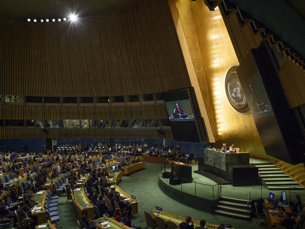 Wide view of the General Assembly Hall at the opening of its seventy-third session, on 18 September 2018.